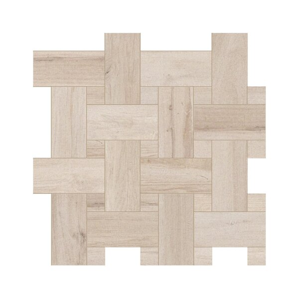 Travel Intreccio Décor 12 x 12 Porcelain Wood Look Tile in North White by Travis Tile Sales