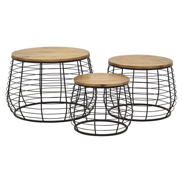 Isabeau Metal / Wood 3 Piece Nesting Tables by 17 Stories