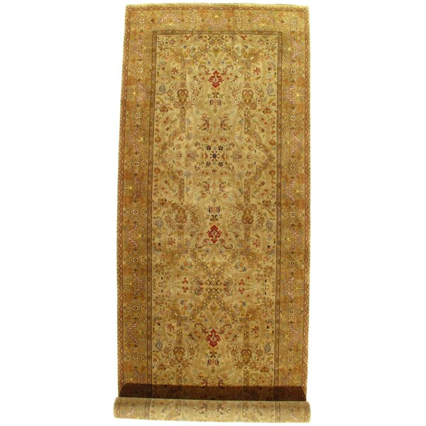 Persian Tabriz Design Hand-Knotted Beige/Red Area Rug by Pasargad NY