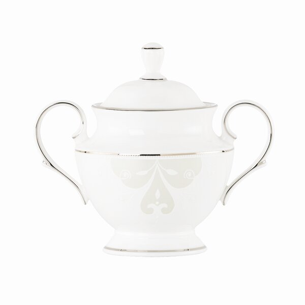 Opal Innocence Scroll Sugar Bowl with Lid by Lenox