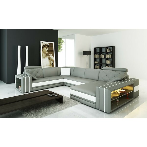 Scarberry Leather Sectional by Orren Ellis