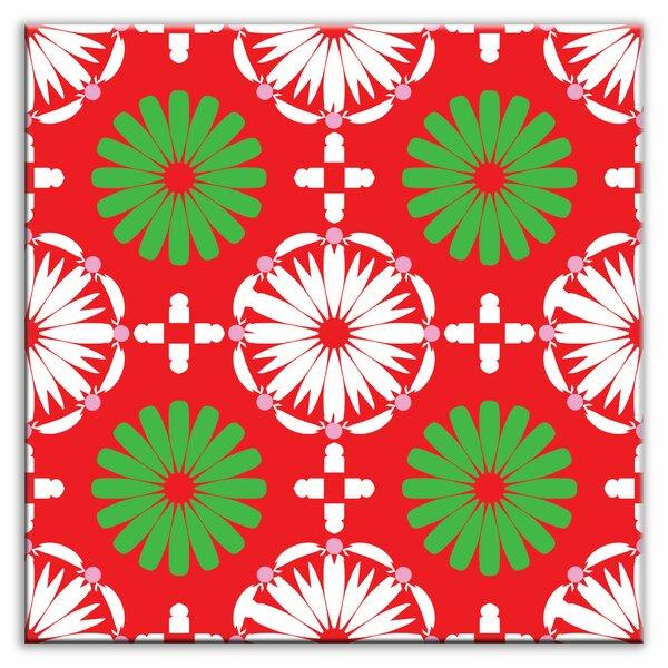 Folksy Love 4-1/4 x 4-1/4 Glossy Decorative Tile in Kaleidoscope White-Green-Red by Oscar & Izzy