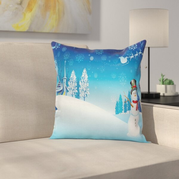 Christmas Snowman Church Stars Square Pillow Cover by East Urban Home
