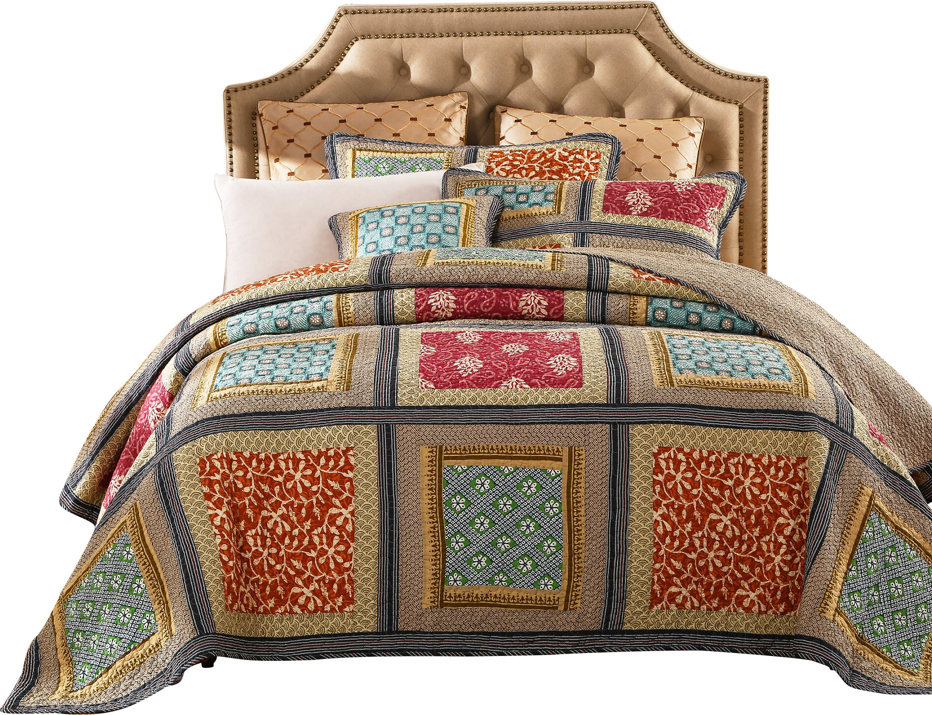 DaDa Bedding Gallery of Roses 3 Piece Reversible Quilt Set & Reviews ...