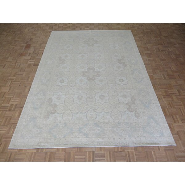 One-of-a-Kind Baltic Khotan Oushak Hand-Knotted Wool Ivory Area Rug by Ophelia & Co.