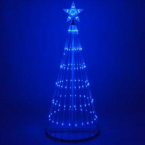 led metal tree lighted display - Blue Christmas Tree Lights