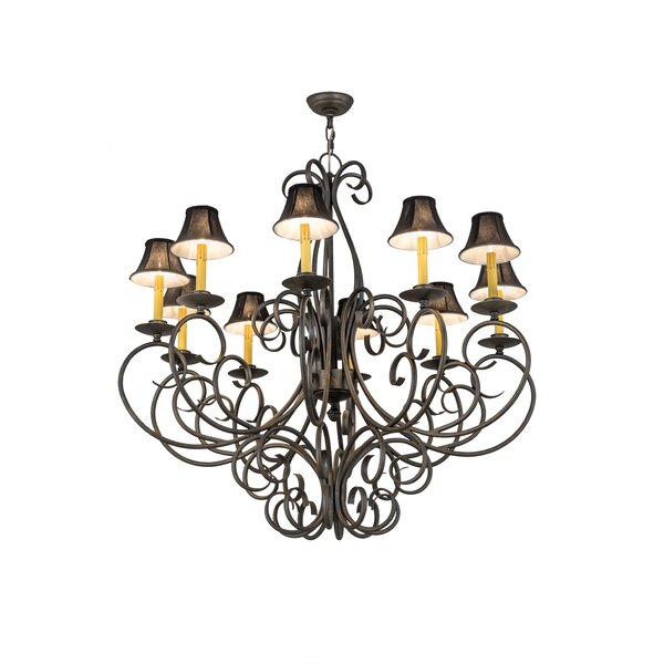 Aliso 12- Light Candle Style Wagon Wheels Chandelier by Astoria Grand Astoria Grand