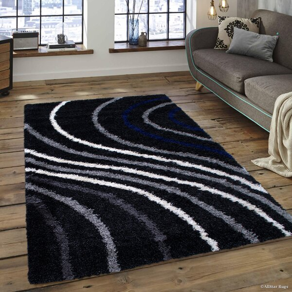 Karns High Pile Posh, Soft and Shaggy Wavy Line Printed Anthracite Area Rug by Latitude Run