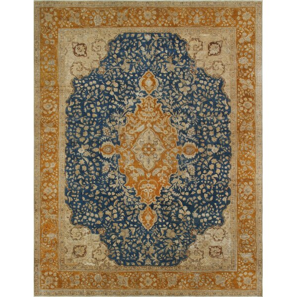 Curragh Vintage Distressed Overdyed Hand Knotted Wool Blue Area Rug by Canora Grey