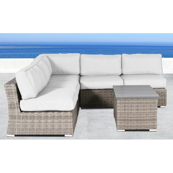 Damarcus 6 Piece Rattan Sunbrella Sectional Seating Group with Cushions by Sol 72 Outdoor