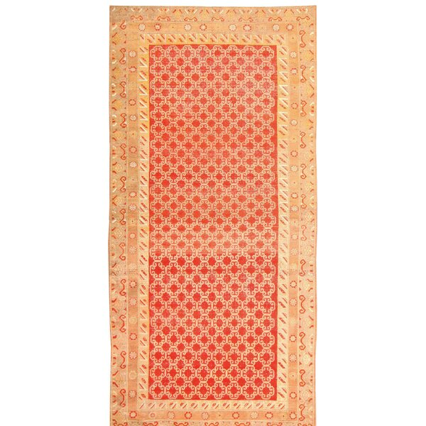One-of-a-Kind Hand-Knotted Before 1900 Khotan Red/Beige 7'2 x 14'2 Wool Area Rug