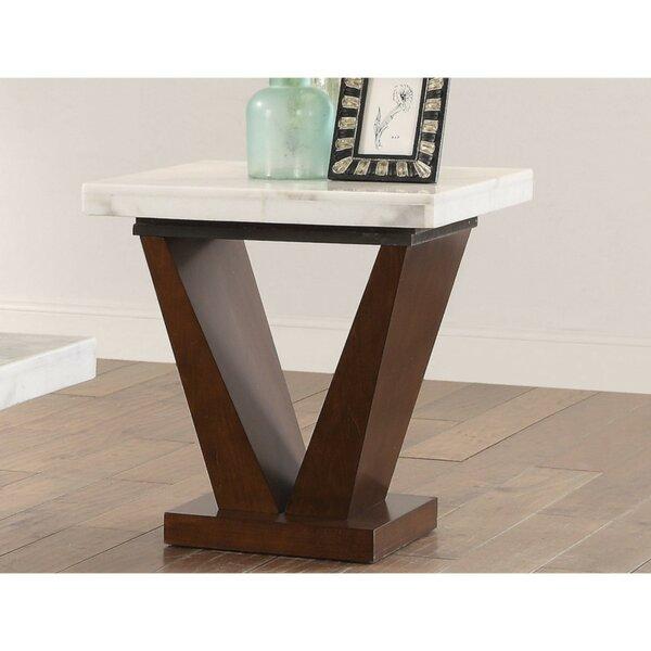 Mortenson Square Marble Top Wooden V Shape Base End Table By Orren Ellis