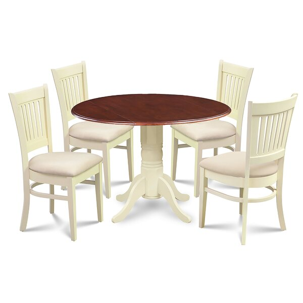 Beri 5 Piece Drop Leaf Solid Wood Dining Set by August Grove