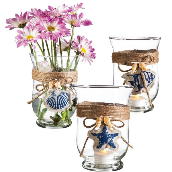 Nautical Glass Hurricane (Set of 3) by Cypress Home