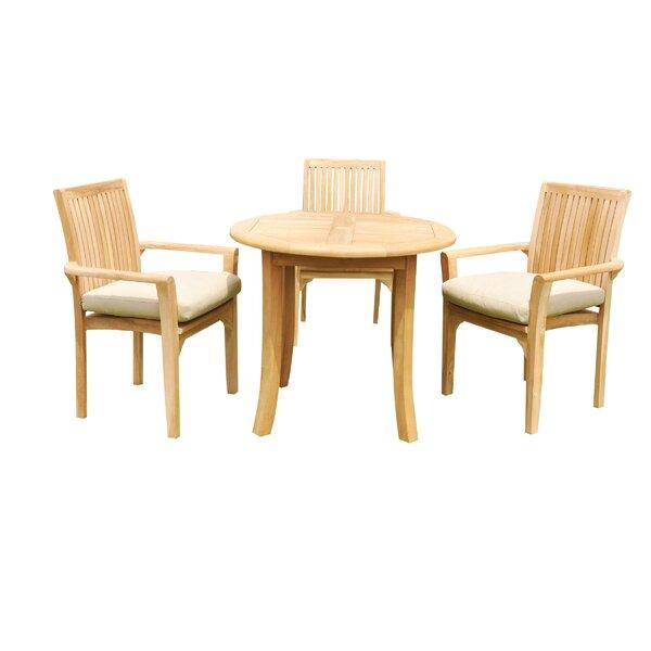 Massie 4 Piece Teak Dining Set by Rosecliff Heights