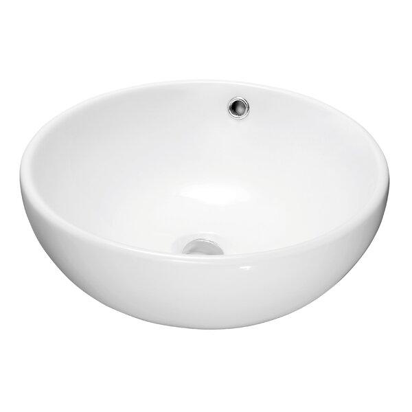 Ceramic Circular Vessel Bathroom Sink with Overflow by Dawn USA