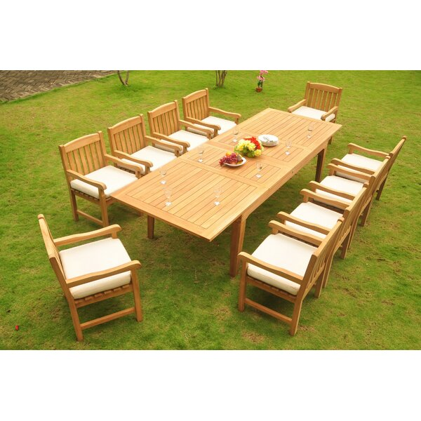 Koby Luxurious 11 Piece Teak Dining Set by Rosecliff Heights