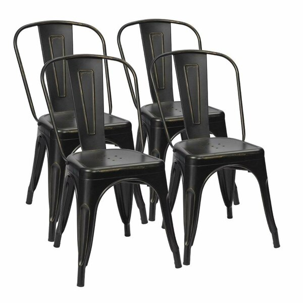 Lilian Metal Slat Back Stacking Side Chair (Set Of 4) By 17 Stories