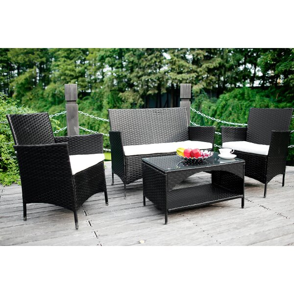 Mindy Outdoor 4 Piece Rattan Sofa Seating Group with Cushions by Bay Isle Home