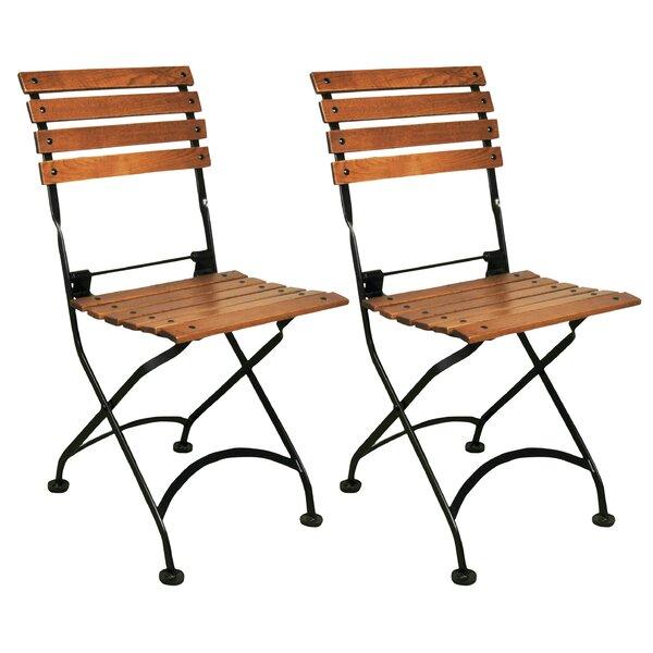 European Café Folding Teak Patio Dining Chair (Set of 2) by Furniture Designhouse