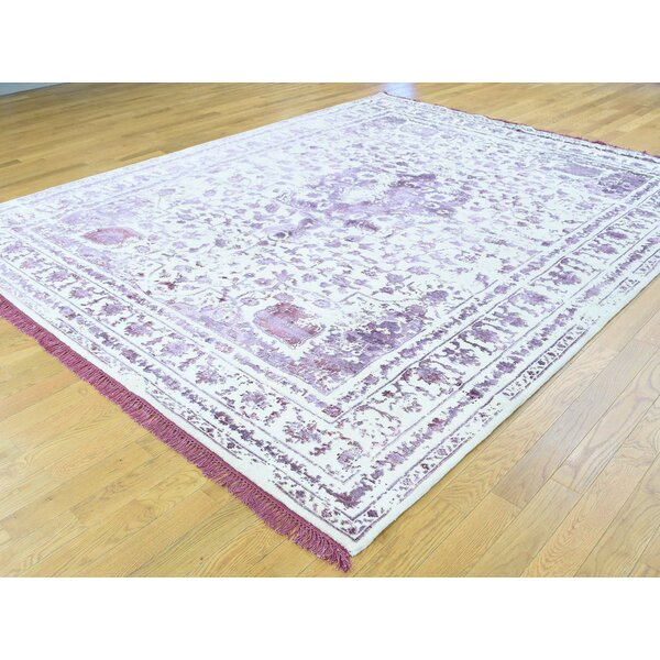 One-of-a-Kind Beane Broken Design Handwoven Purple Wool/Silk Area Rug by Isabelline