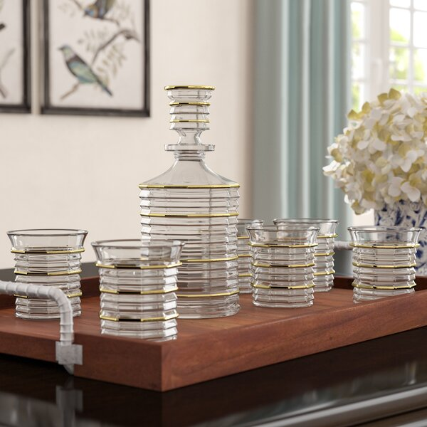 Marilyn Fine Crystal 7 Piece Beverage Serving Set by Darby Home Co