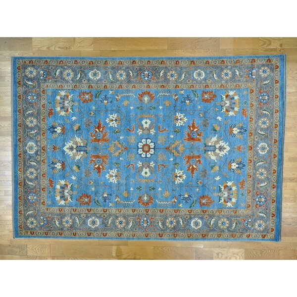 One-of-a-Kind Beatrix Afghan Natural Dyes Hand-Knotted Blue Wool Area Rug by Isabelline