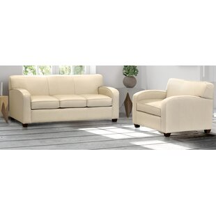 Postfield Cream Top Grain Leather Sofa And Chair by Ebern Designs