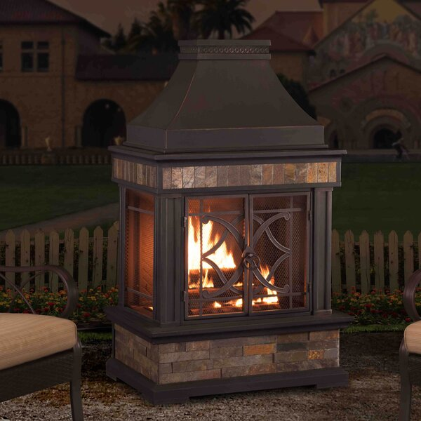 Heirloom Steel Wood Burning Outdoor Fireplace by Sunjoy