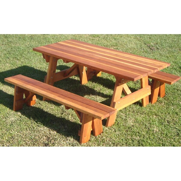 Kensington Solid Wood Picnic Table by Loon Peak Loon Peak