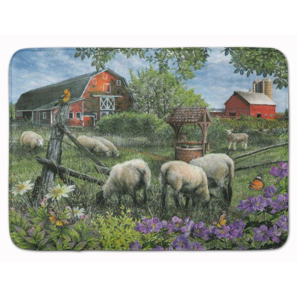 Pleasant Valley Sheep Farm Rectangle Microfiber Non-Slip Bath Rug