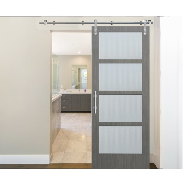 4 Lite Finish Solid Wood Glass Driftwood Interior Barn Door by Creative Entryways