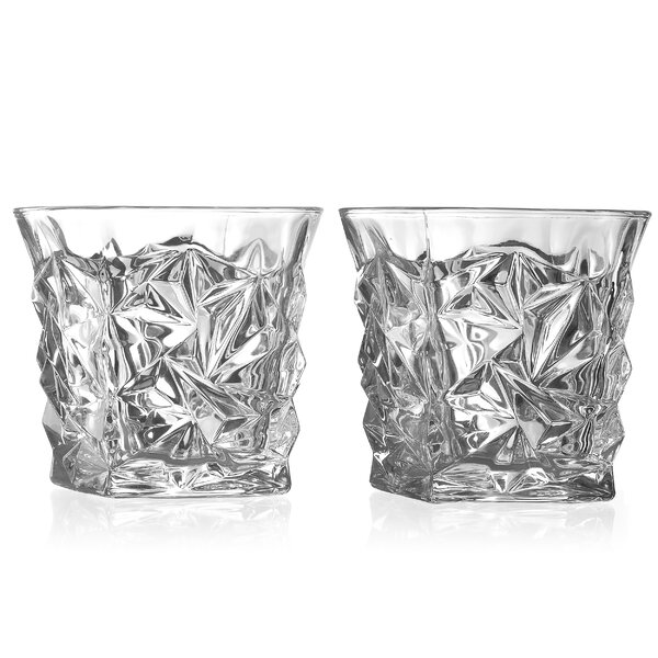 Sandra Diamond Luxury Elegant 12 oz. Glass Whiskey Glass (Set of 2) by Ebern Designs