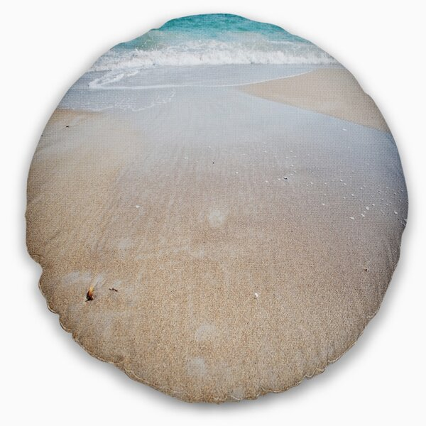 Crystal Clear Sea Waves on Beach Throw Pillow by East Urban Home