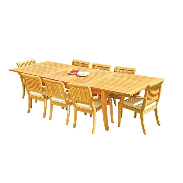 Masson 9 Piece Teak Dining Set by Rosecliff Heights