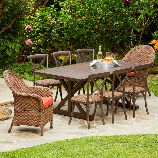 Acree Hacienda Heights 9 Piece Dining Set with Cushions by One Allium Way