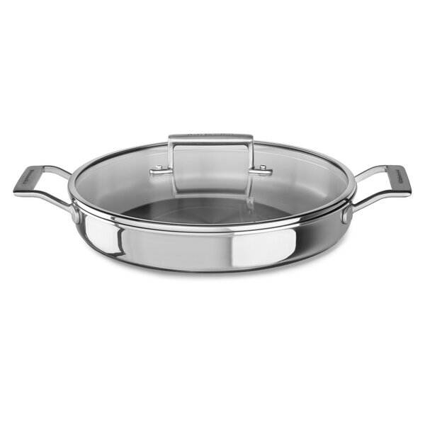 3.5 Qt. Tri-Ply Stainless Steel Round Braiser with Lid by KitchenAid