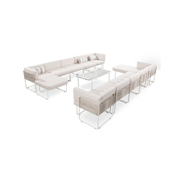 Skipton Outdoor 13 Piece Sectional Seating Group with Cushions by Freeport Park