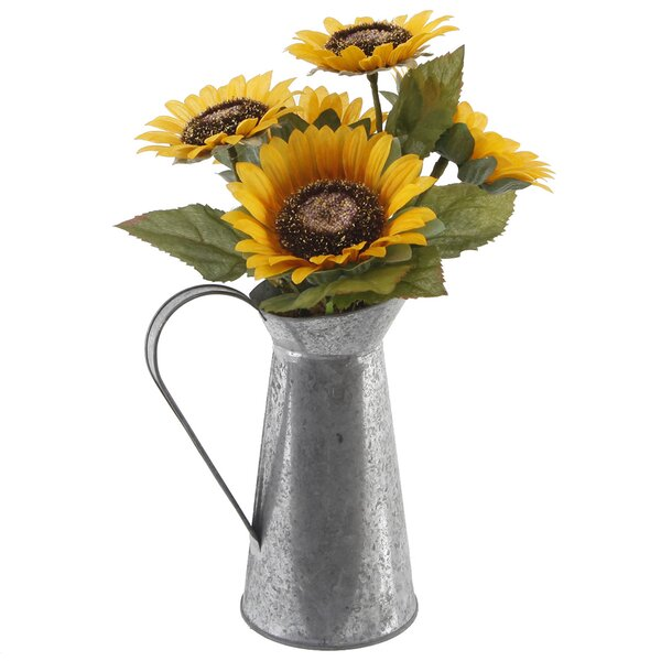 13 Tall Sunflowers Floral Arrangement in Watering Tin by August Grove