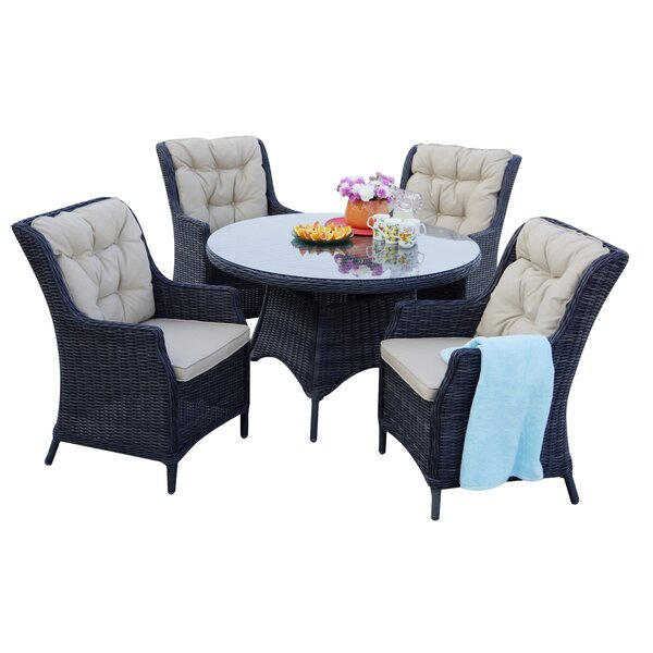 Audra 5 Piece Dining Set with Cushions by Orren Ellis