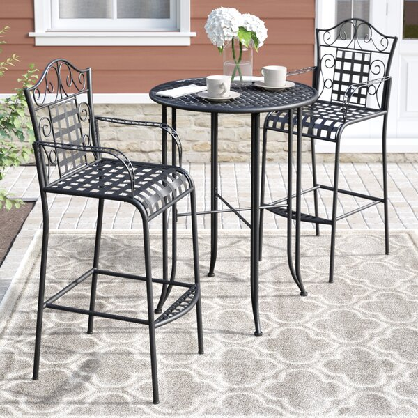 Snowberry 3 Piece Wrought Iron Bar Height Bistro Patio Set by Three Posts