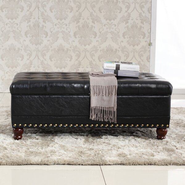 Elegant Classic Tufted Wood Storage Bench by Bellasario Collection
