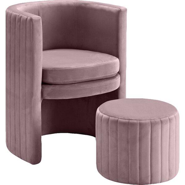 Funon Velvet Barrel Chair and Ottoman by Mercer41