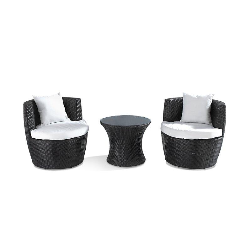 2 Sitzer Lounge Set Abrigo Aus Polyrattan Mit Polster
