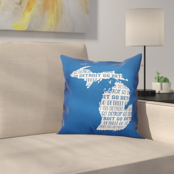 Michigan Go Team Square Throw Pillow by East Urban Home