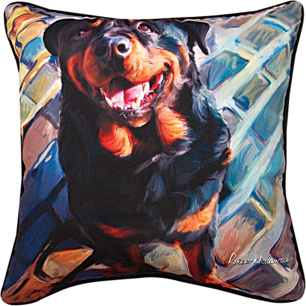 Handsome Rottie Rottweiler Throw Pillow by Manual Woodworkers & Weavers