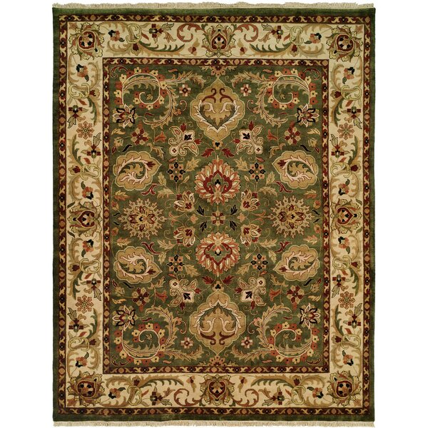 Bajwa Hand-Woven Green/Beige Area Rug by Meridian Rugmakers