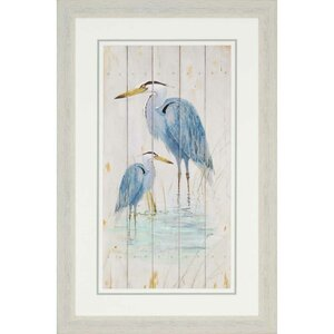 'Blue Heron Duo' Graphic Art by Beachcrest Home