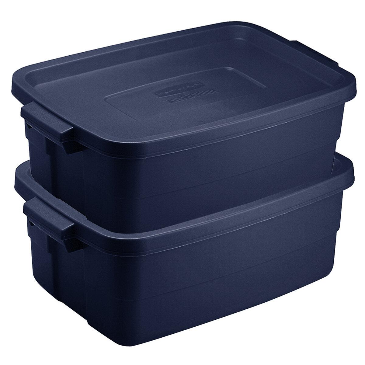 3 Gallon Dark Indigo Metallic RUBBERMAID Storage Tote-Pack of 6