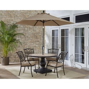 Copper 5 Piece Dining Set with Cushions and Umbrella By Fleur De Lis Living